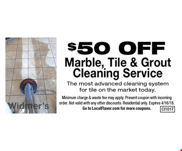 $50 OFF Marble, Tile & GroutCleaning Service. The most advanced cleaning system for tile on the market today.. Minimum charge & waste fee may apply. Present coupon with incoming order. Not valid with any other discounts. Residential only. Expires 4/16/18. Go to LocalFlavor.com for more coupons.