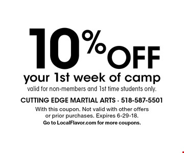 10% Off your 1st week of campvalid for non-members and 1st time students only.. With this coupon. Not valid with other offers or prior purchases. Expires 6-29-18. Go to LocalFlavor.com for more coupons.