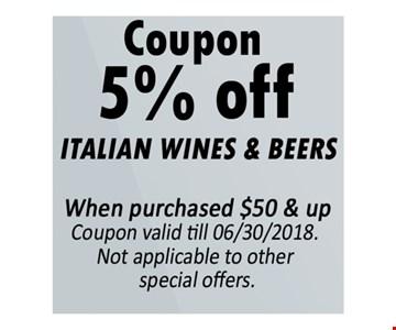 5% off Italian wines & beers