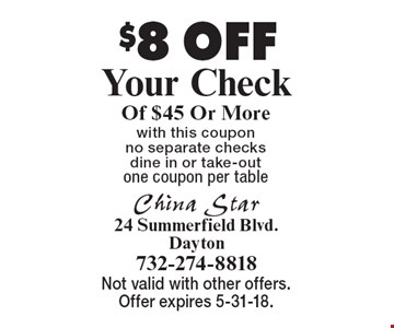 $8 OFF Your Check Of $45 Or More. with this coupon no separate checks, dine in or take-out. one coupon per table . Not valid with other offers. Offer expires 5-31-18.
