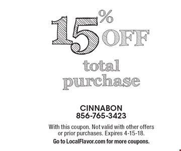 15% Off total purchase. With this coupon. Not valid with other offers or prior purchases. Expires 4-15-18. Go to LocalFlavor.com for more coupons.