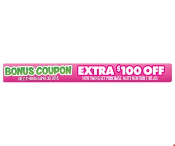 Extra $100 Off New Swing Set Purchase