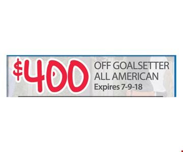$400 off Goalsetter All American. Expires 7-9-18.