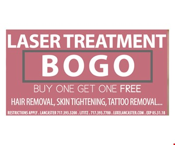 Buy one laser treatment get one free