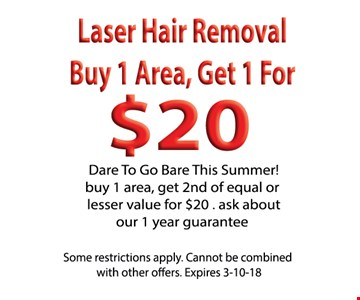 Laser hair removal. Buy 1 area get 1 for $20
