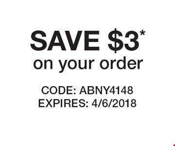 SAVE $3* on your order. CODE: ABNY4148 EXPIRES: 4/6/2018 *Cannot be combined with any other offer. Restrictions may apply. See store for details. Edible®, Edible Arrangements®, the Fruit Basket Logo, and other marks mentioned herein are registered trademarks of Edible Arrangements, LLC. © 2018 Edible Arrangements, LLC. All rights reserved.
