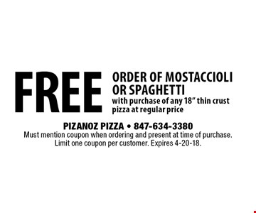 free order of mostaccioli