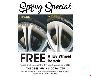 Free Alloy Wheel Repair. Repair 3 wheels, get the 4th free. Savings up to $125. With this coupon. Not valid with other offers or prior services. Expires 6-30-18.