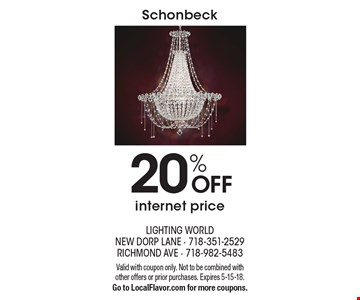 Schonbeck 20% OFF internet price. Valid with coupon only. Not to be combined with other offers or prior purchases. Expires 5-15-18. Go to LocalFlavor.com for more coupons.