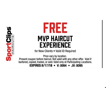 Present coupon before haircut. Not valid with any other offer. Void if bartered, copied, traded or sold. Valid only at participating locations.