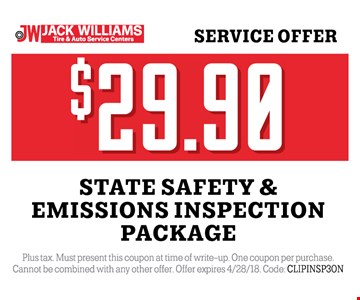 $29.90 State safety and emissions inspection package