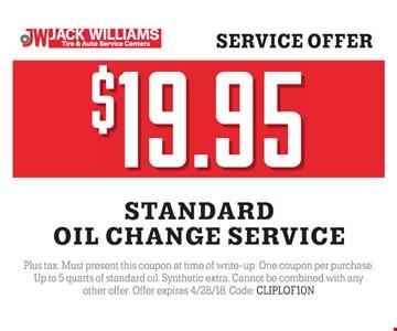 Oil change for $19.95.