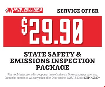 Safety and emissions inspection for $29.90.