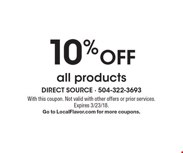 10% off all products. With this coupon. Not valid with other offers or prior services. Expires 3/23/18. Go to LocalFlavor.com for more coupons.