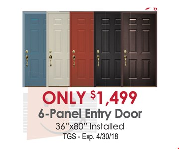 Only $1,499 6-Panel Entry Door 36