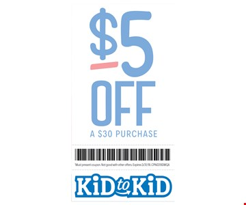 $5 Off a $30 purchase