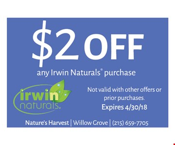 $2 off any Irwin Naturals purchase