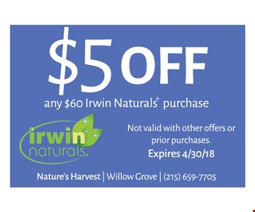 $5 off any $60 Irwin Naturals purchase