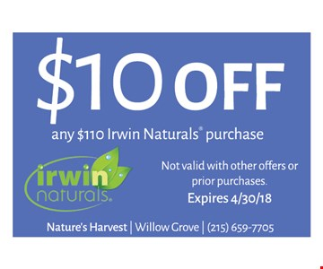 $10 off any $110 Irwin Naturals purchase