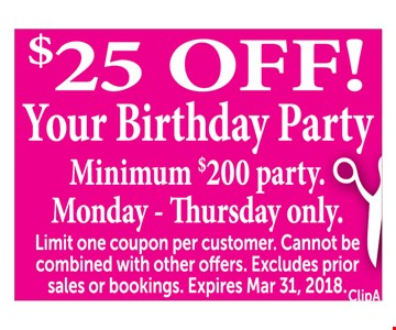 $25 off your birthday party