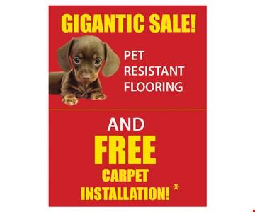 Gigantic sale pet resistant flooring and free carpet installation