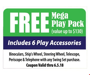 Free Mega Play Pack (Value up to $130). Includes 6 play Accessories. 
