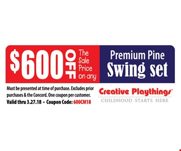 $600 off premium pine swing set