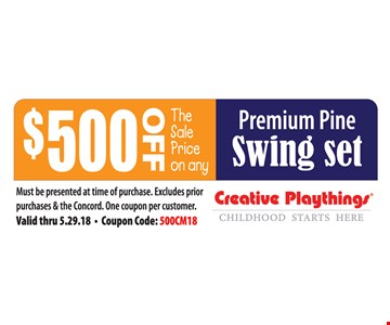 $500 Off The Sale Price On Any Premium Pine Swing Set