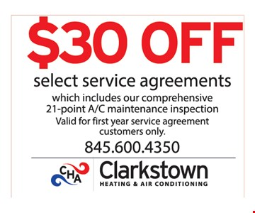 $30 off select service agreements.
