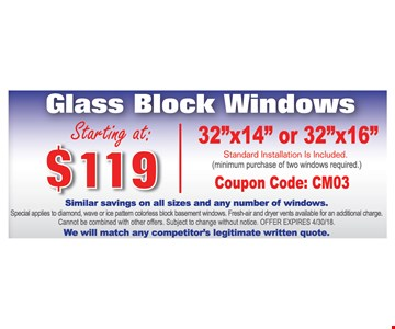 glass block windows starting at $119