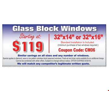 Glass block windows  starting at $119   32