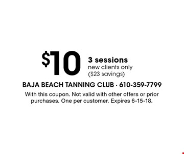 $103 sessions new clients only ($23 savings). With this coupon. Not valid with other offers or prior purchases. One per customer. Expires 6-15-18.