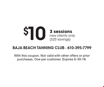 $103 sessions. New clients only ($23 savings). With this coupon. Not valid with other offers or prior purchases. One per customer. Expires 6-30-18.