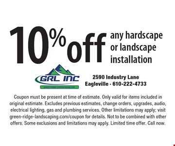 10% off any hardscape or landscape installation. Coupon must be present at time of estimate. Only valid for items included in original estimate. Excludes previous estimates, change orders, upgrades, audio, electrical lighting, gas and plumbing services. Other limitations may apply; visit green-ridge-landscaping.com/coupon for details. Not to be combined with other offers. Some exclusions and limitations may apply. Limited time offer. Call now.