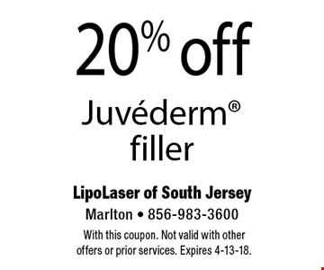 20% off Juvederm filler. With this coupon. Not valid with other offers or prior services. Expires 4-13-18.