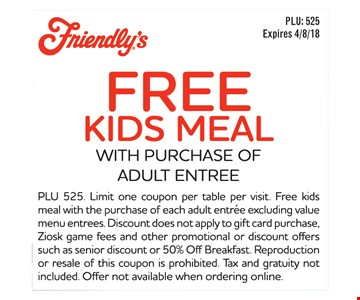 Free kids meal with purchase of adult entree