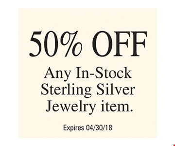 50% Off Any In-Stock Sterling Silver Jewelry Item