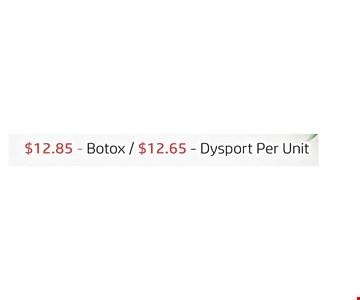 $12.85 botox $12.65 drysort per unit