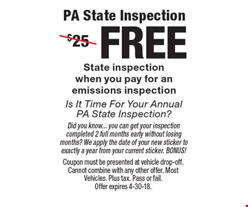 FREE PA State Inspection State inspection when you pay for an