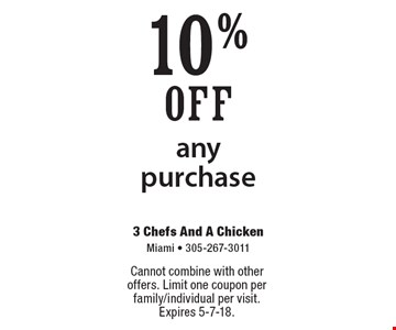 10% off any purchase. Cannot combine with other offers. Limit one coupon per family/individual per visit. Expires 5-7-18.