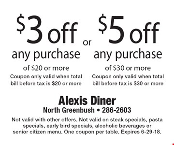 $3 off any purchase of $20 or more. Coupon only valid when total bill before tax is $20 or more of $30 or more. $5 off any purchase of $30 or more. Coupon only valid when total bill before tax is $30 or more. Not valid with other offers. Not valid on steak specials, pasta specials, early bird specials, alcoholic beverages or senior citizen menu. One coupon per table. Expires 6-29-18.