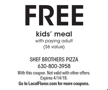 FREE kids' meal with paying adult ($6 value). With this coupon. Not valid with other offers. Expires 4/14/18. Go to LocalFlavor.com for more coupons.