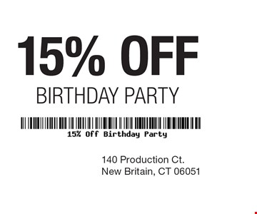 15% off birthday party