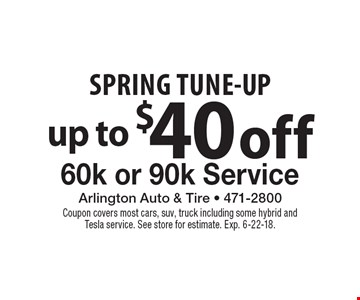 Spring Tune-UP up to $40 off 60k or 90k Service. Coupon covers most cars, suv, truck including some hybrid and Tesla service. See store for estimate. Exp. 6-22-18.
