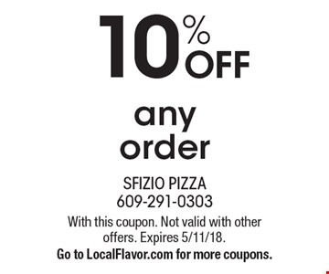10% OFF any order. With this coupon. Not valid with other offers. Expires 5/11/18. Go to LocalFlavor.com for more coupons.