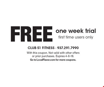FREE one week trial, first time users only. With this coupon. Not valid with other offers or prior purchases. Expires 4-6-18. Go to LocalFlavor.com for more coupons.