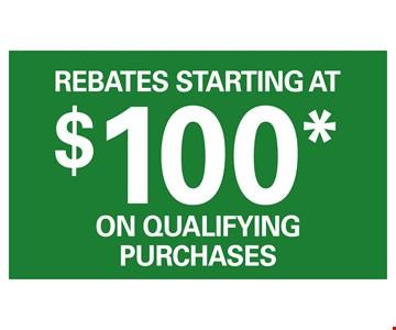 Rebates Starting at $100 on Qualifying Purchases