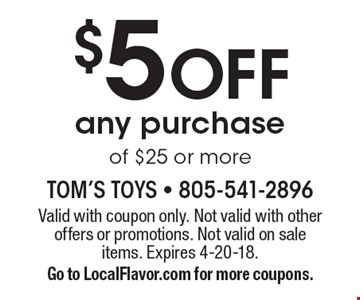 $5 Off any purchase of $25 or more. Valid with coupon only. Not valid with other offers or promotions. Not valid on sale items. Expires 4-20-18. Go to LocalFlavor.com for more coupons.