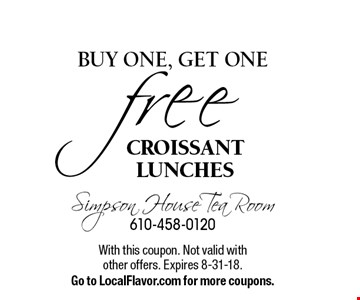 Free CROISSANT LUNCH, buy one, get one . With this coupon. Not valid with other offers. Expires 8-31-18.Go to LocalFlavor.com for more coupons.