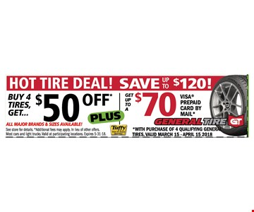 Hot tire deals. $50 off